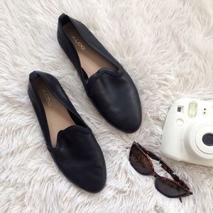 ALDO black almond toe leather flats